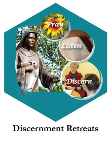 "Image of St. Scholastica with the words Pray, Listen, Discern"" with Discernment Retreats along the bottom"