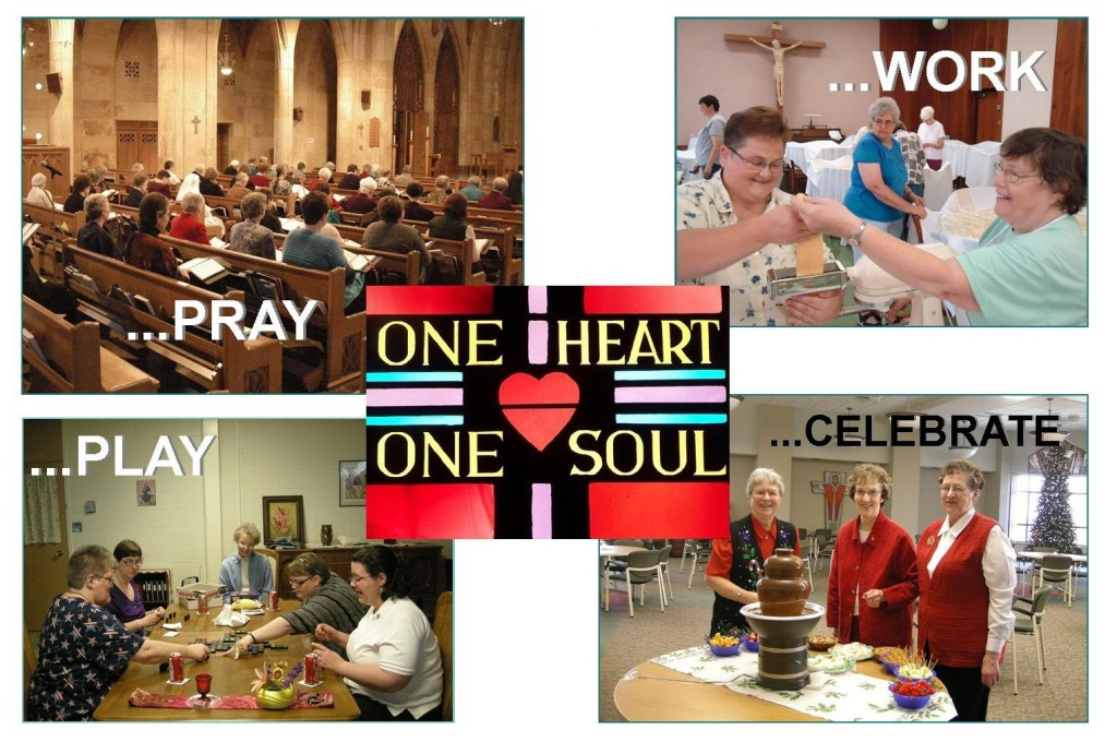 Four images each portraying the benedictine sisters in Pray, Work, Play, and Celebrate